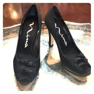 Nina brand  black satin evening heels